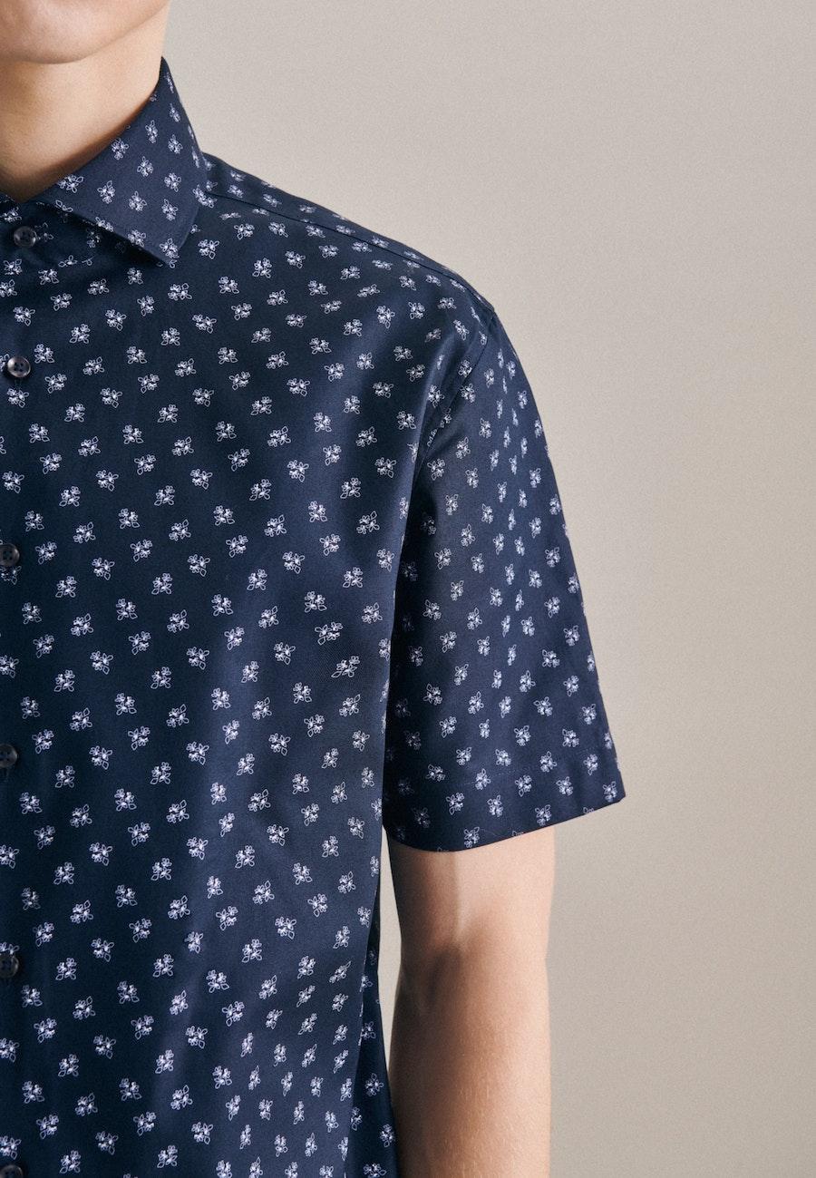 Oxfordhemd in Shaped mit Kentkragen in Dunkelblau |  Seidensticker Onlineshop