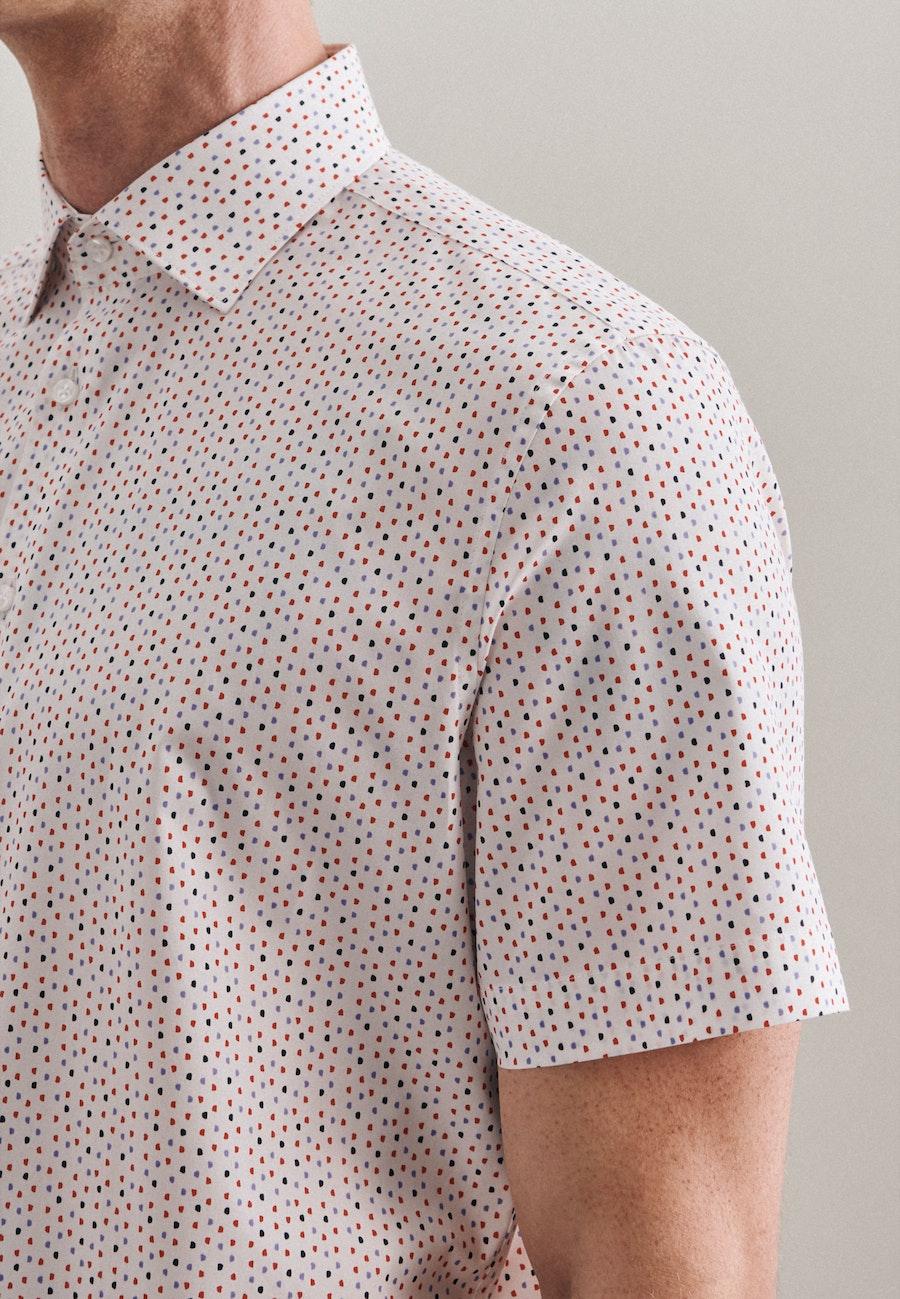 Bügelleichtes Popeline Kurzarm Business Hemd in Slim mit Kentkragen in Rot |  Seidensticker Onlineshop
