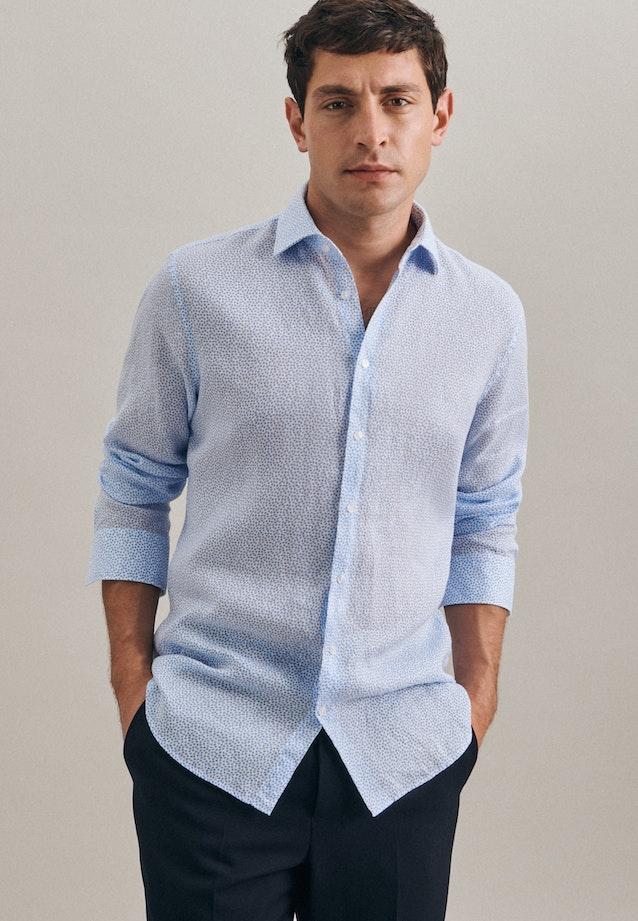 Easy-iron Leinen Business Shirt in Slim with Kent-Collar in Turquoise |  Seidensticker Onlineshop