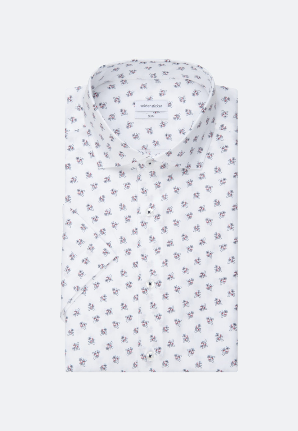 Bügelleichtes Oxford Kurzarm Business Hemd in Slim mit Kentkragen in Weiß    Seidensticker Onlineshop