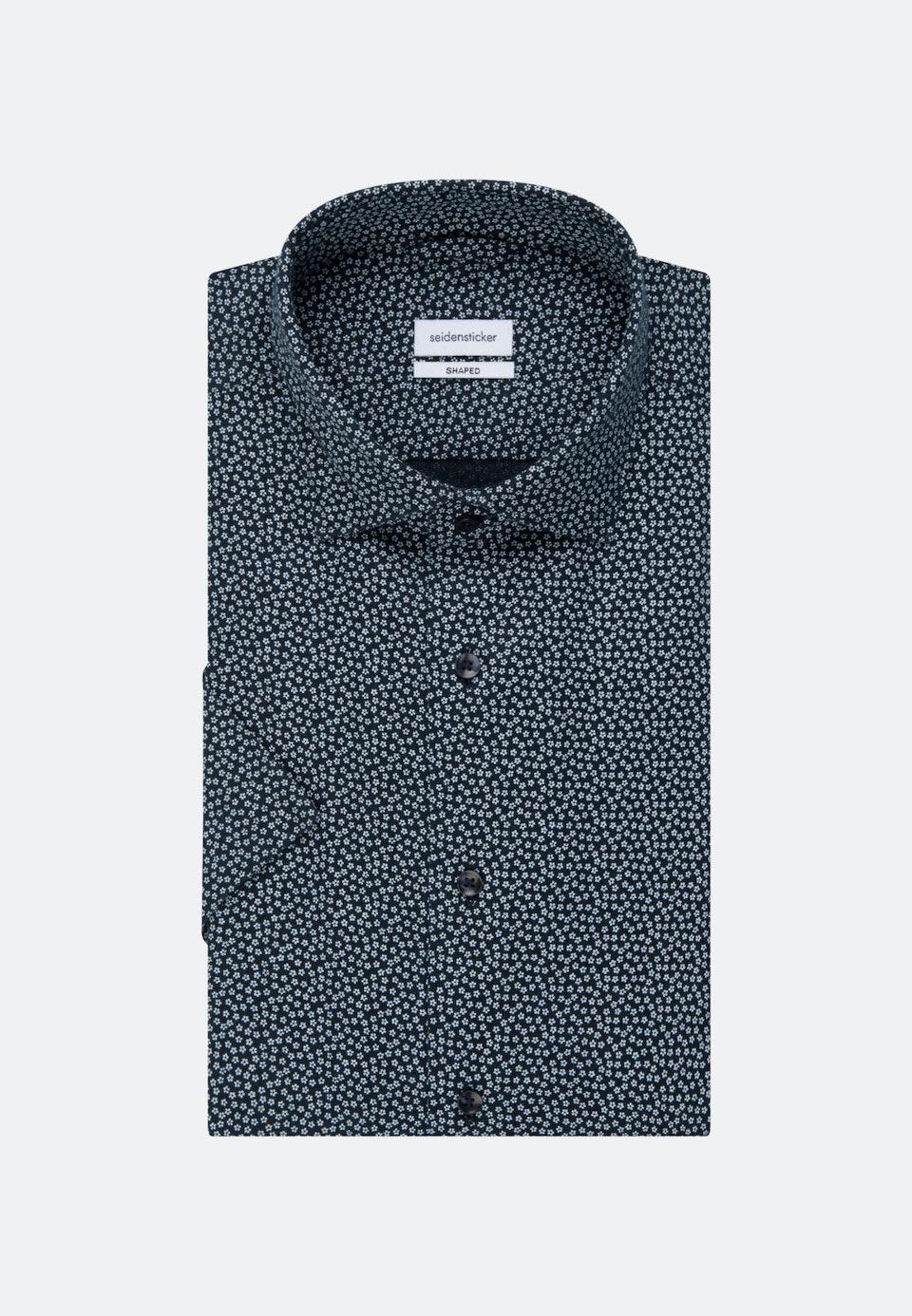 Bügelleichtes Leinen Kurzarm Business Hemd in Shaped mit Kentkragen in Dunkelblau |  Seidensticker Onlineshop