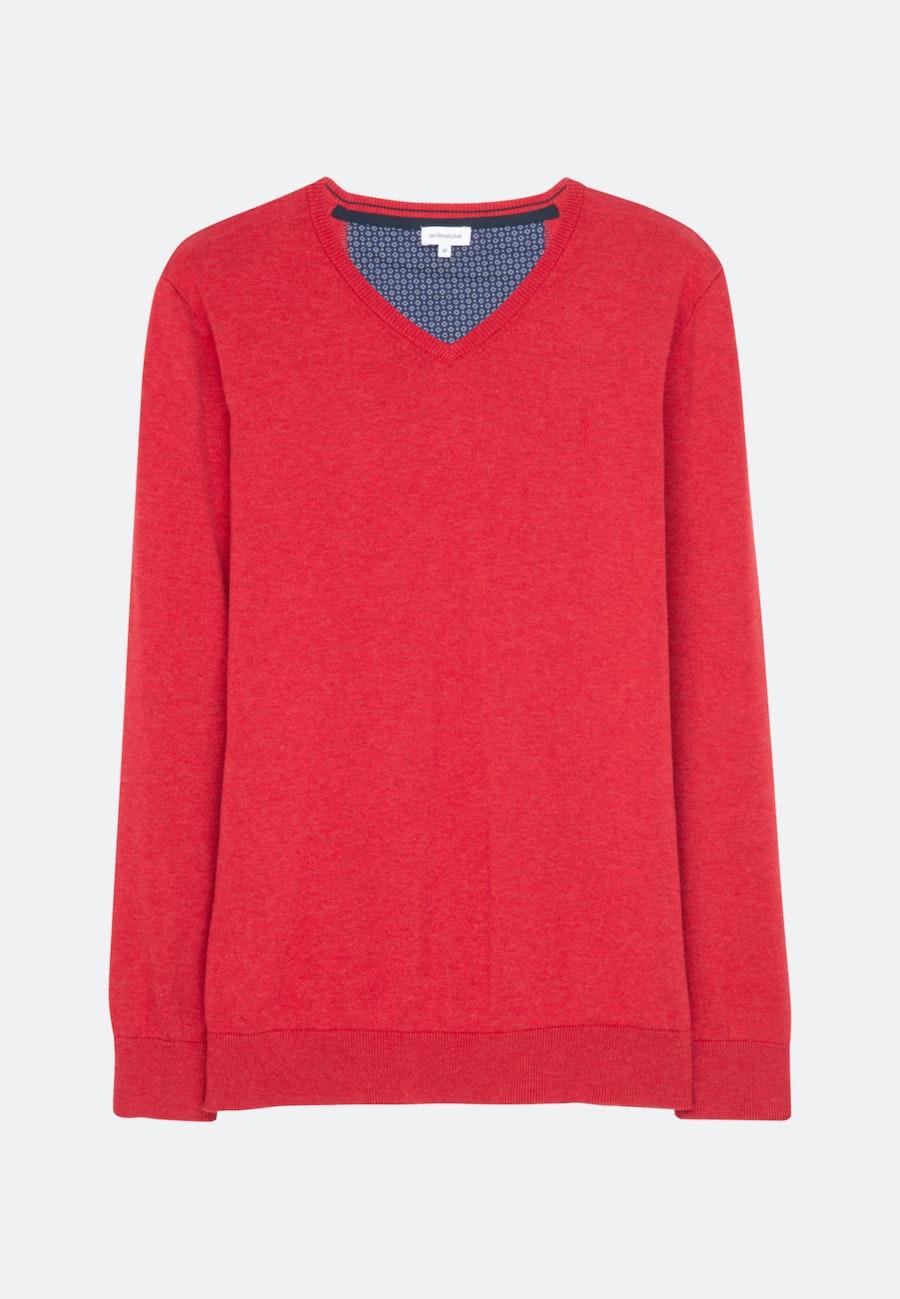 V-Neck Pullover aus 100% Baumwolle in Rot    Seidensticker Onlineshop