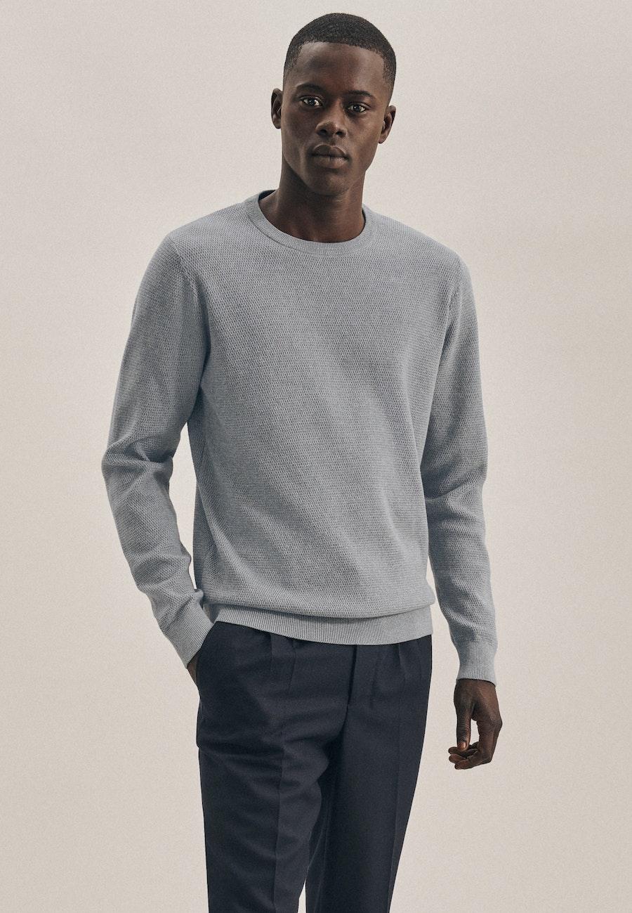 Rundhals Pullover aus 100% Baumwolle in Grau |  Seidensticker Onlineshop