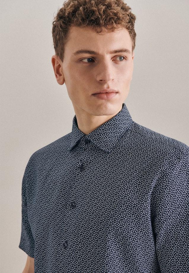 Leinen Kurzarm Leinenhemd in Slim mit Kentkragen in Dunkelblau |  Seidensticker Onlineshop