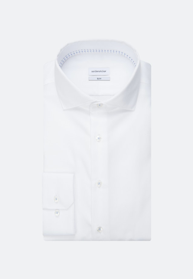 Bügelfreies Twill Business Hemd in Slim mit Kentkragen und extra langem Arm in Weiß |  Seidensticker Onlineshop