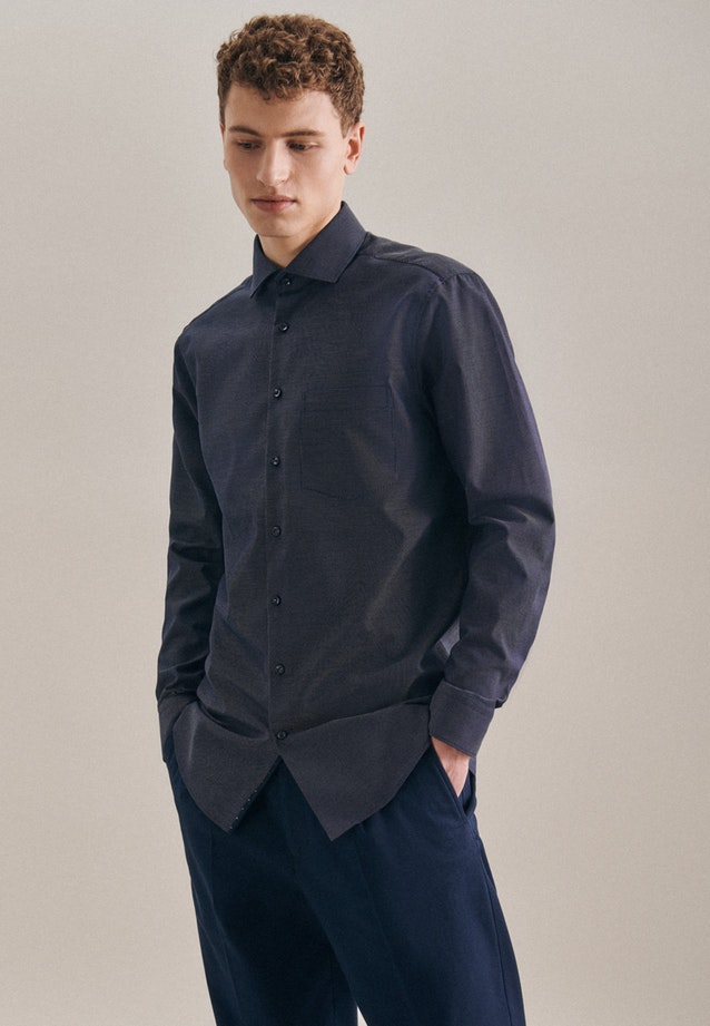 Non-iron Dobby Business Shirt in Regular with Kent-Collar in Dark blue |  Seidensticker Onlineshop