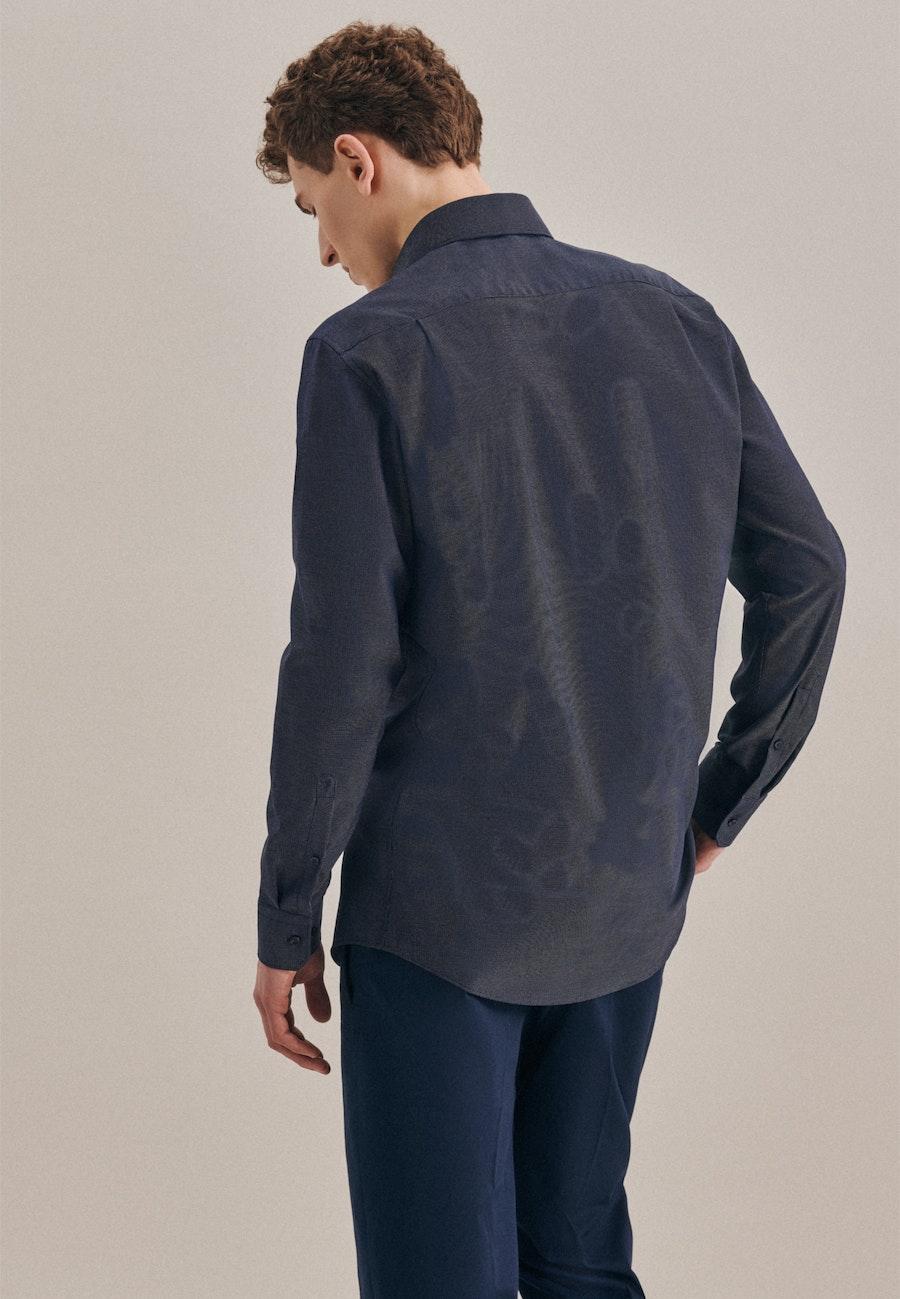 Bügelfreies Dobby Business Hemd in Regular mit Kentkragen in Dunkelblau    Seidensticker Onlineshop