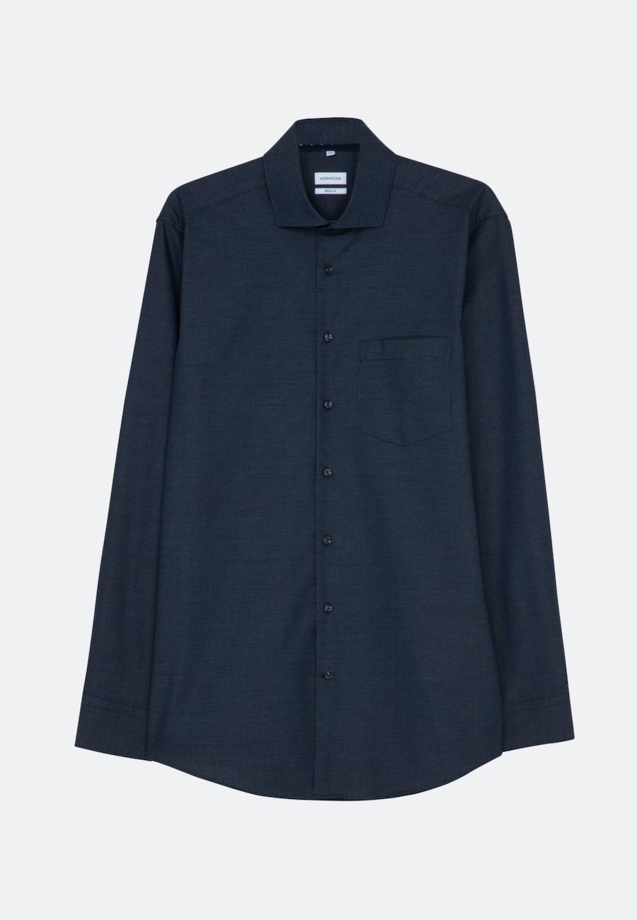 Non-iron Dobby Business Shirt in Regular with Kent-Collar in Dark blue |  Seidensticker Onlineshop