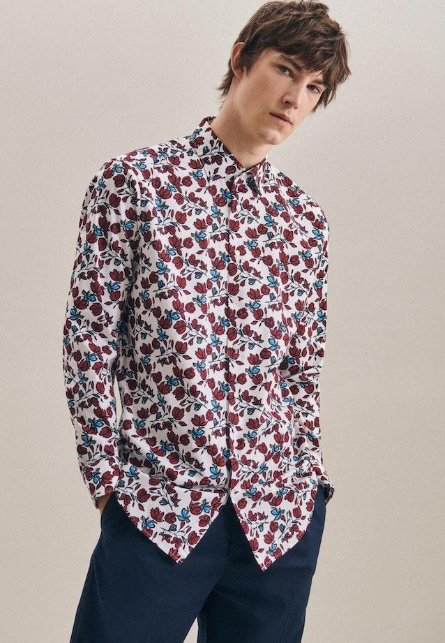 Bügelleichtes Popeline Business Hemd in Regular mit Kentkragen in Rot    Seidensticker Onlineshop