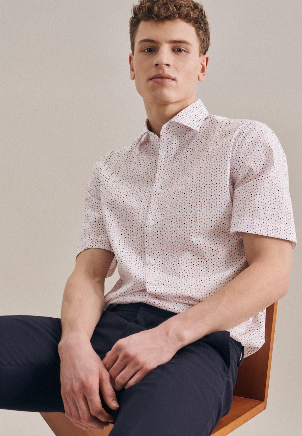 Bügelleichtes Popeline Kurzarm Business Hemd in Regular mit Kentkragen in Rot |  Seidensticker Onlineshop