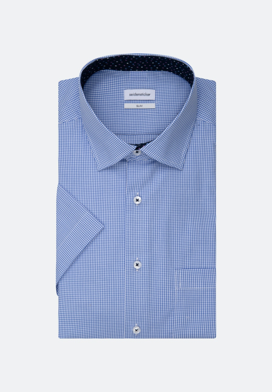 Bügelfreies Popeline Kurzarm Business Hemd in Slim mit Kentkragen in Hellblau |  Seidensticker Onlineshop