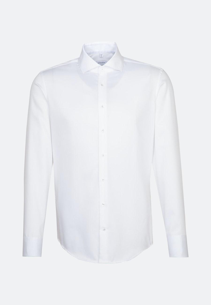 Bügelfreies Twill Business Hemd in Shaped mit Kentkragen und extra langem Arm in Weiß    Seidensticker Onlineshop