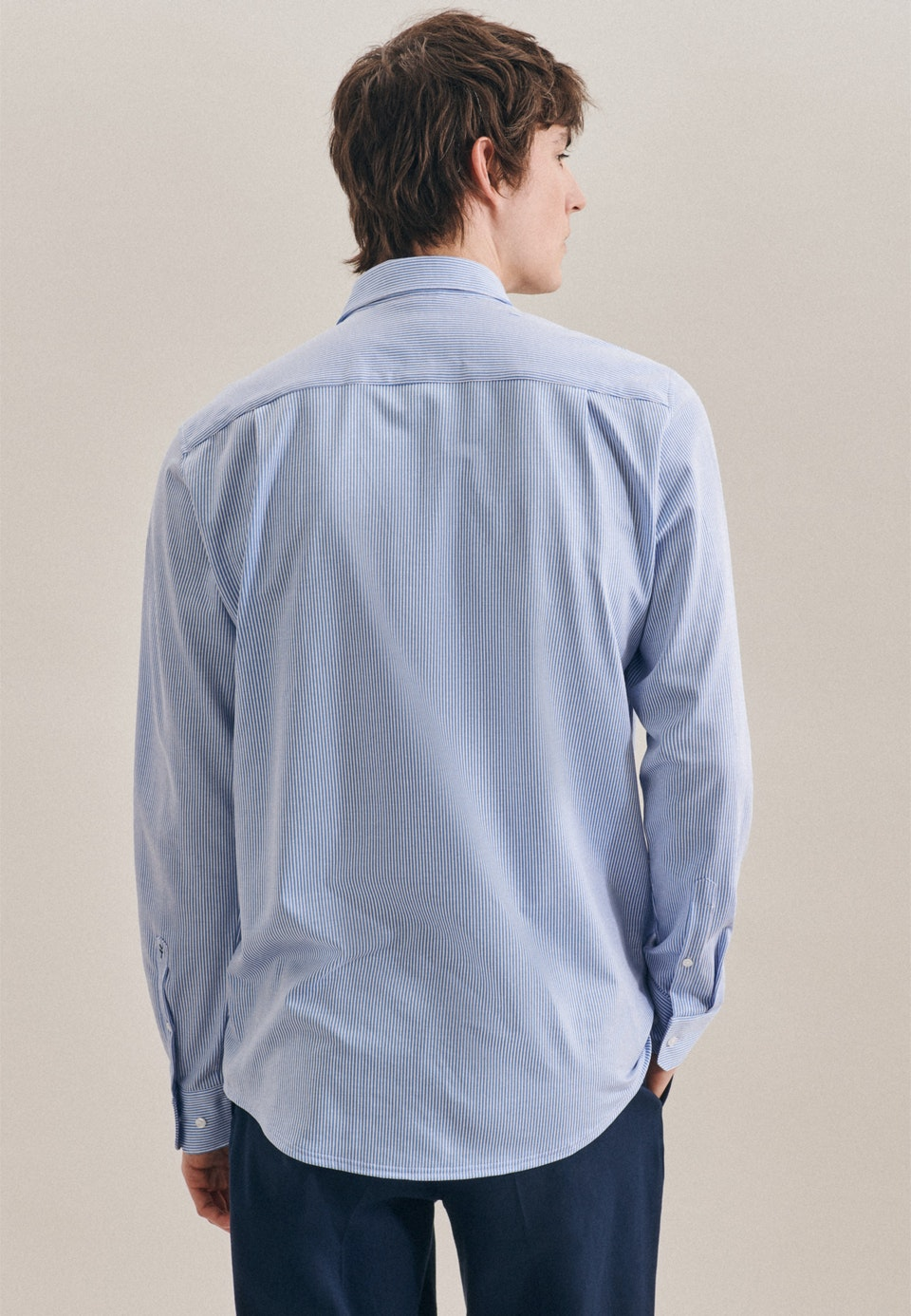 Jerseyhemd in Regular mit Kentkragen in Hellblau    Seidensticker Onlineshop