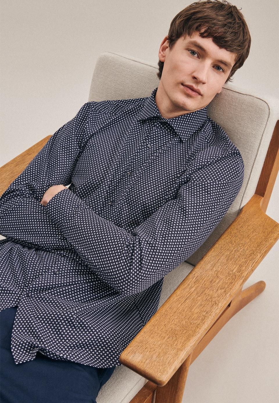 Jerseyhemd in Regular mit Kentkragen in Dunkelblau |  Seidensticker Onlineshop