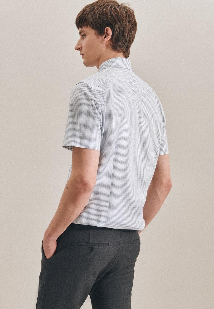 Bügelfreies Oxford Kurzarm Business Hemd in Shaped mit Kentkragen in Grün    Seidensticker Onlineshop