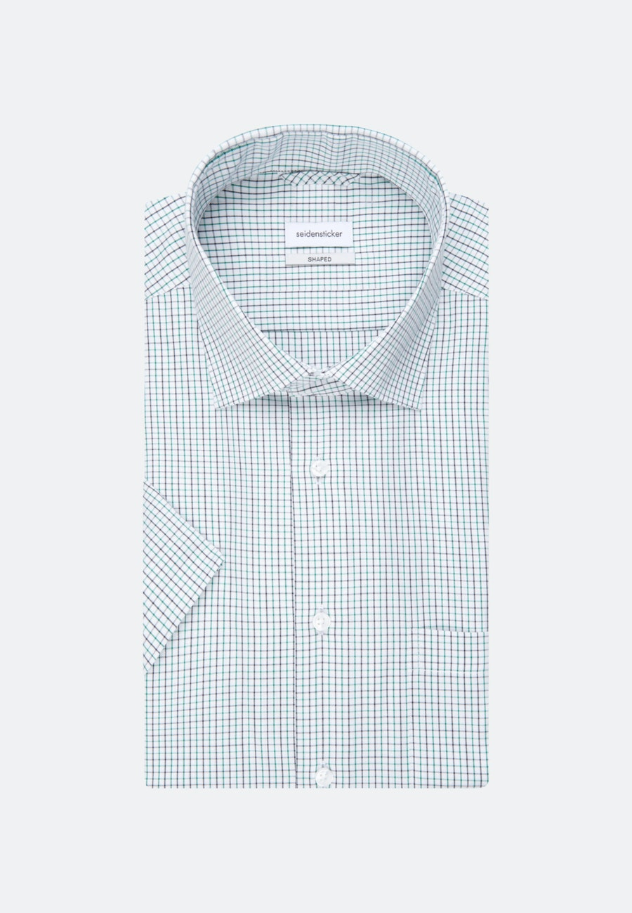 Bügelfreies Kurzarm Oxfordhemd in Shaped mit Kentkragen in Grün |  Seidensticker Onlineshop