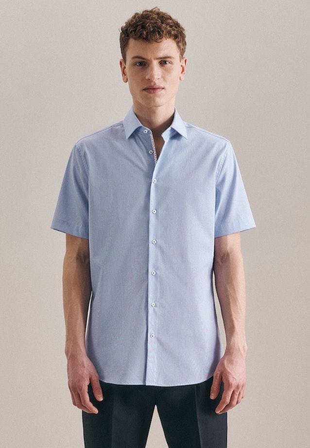 Bügelfreies Struktur Kurzarm Business Hemd in Slim mit Kentkragen in Hellblau    Seidensticker Onlineshop