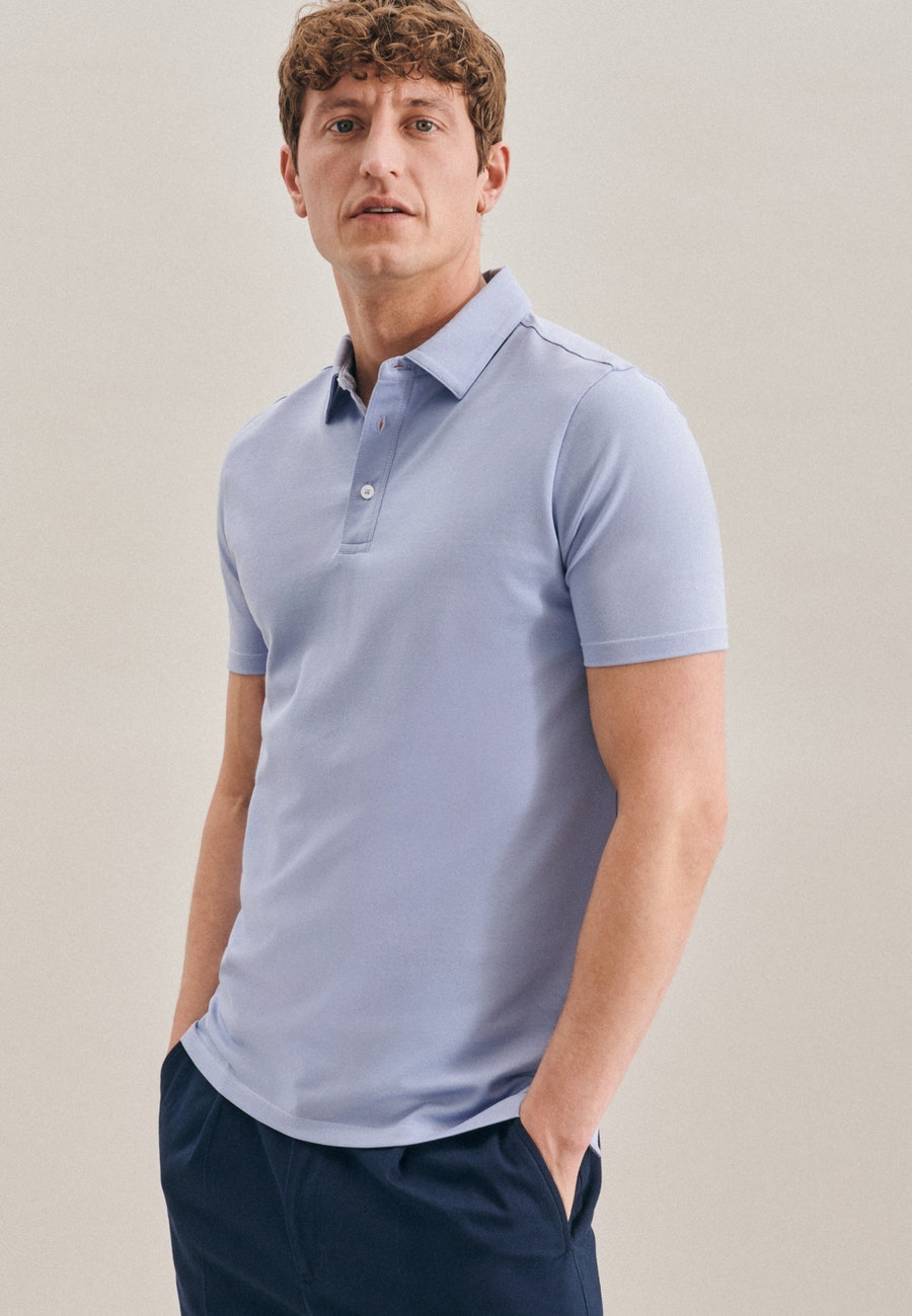 Polo-Shirt aus Baumwollmischung in Hellblau    Seidensticker Onlineshop