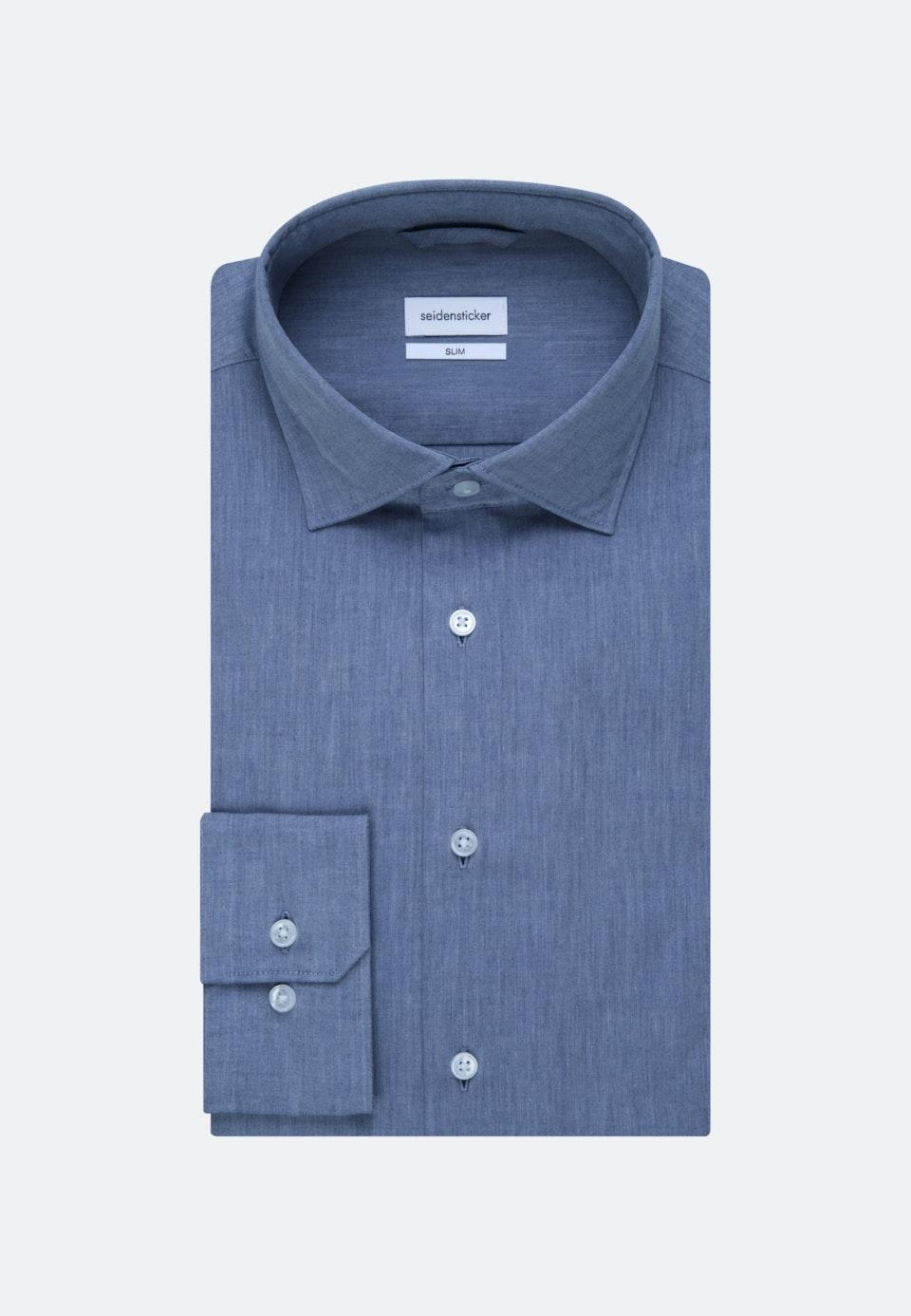 Bügelleichtes Chambray Business Hemd in Slim mit Kentkragen in Mittelblau    Seidensticker Onlineshop