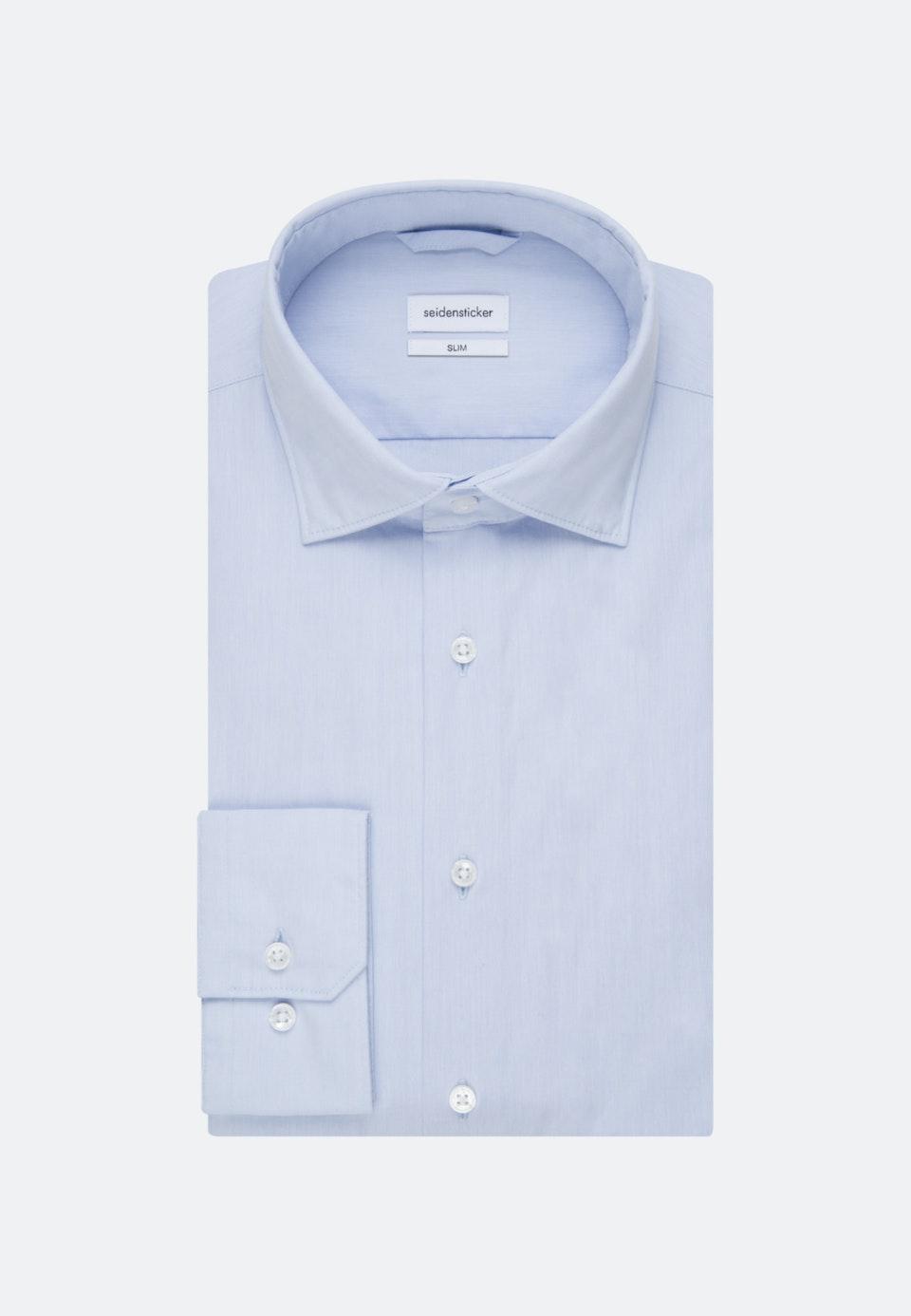 Bügelleichtes Chambray Business Hemd in Slim mit Kentkragen in Hellblau    Seidensticker Onlineshop