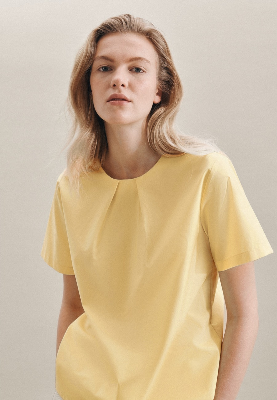 Kurzarm Popeline Shirtbluse aus 100% Baumwolle in Gelb    Seidensticker Onlineshop