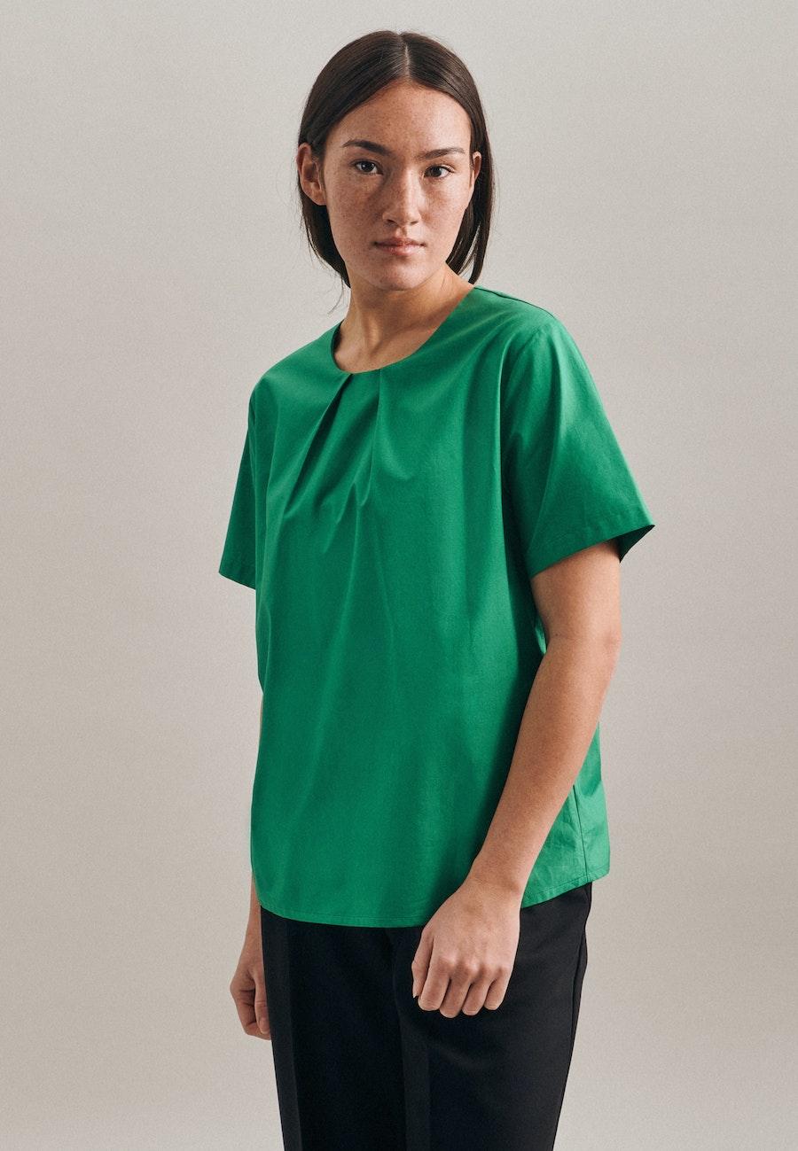 Kurzarm Popeline Shirtbluse aus 100% Baumwolle in Grün    Seidensticker Onlineshop
