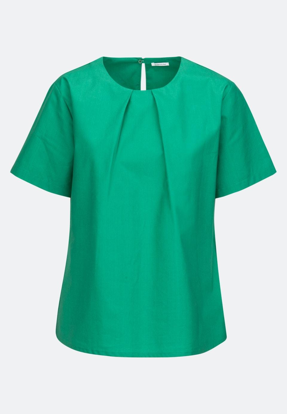 Kurzarm Popeline Shirtbluse aus 100% Baumwolle in Grün |  Seidensticker Onlineshop