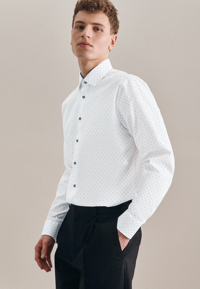 Easy-iron Popeline Business Shirt in Shaped with Kent-Collar in Grey |  Seidensticker Onlineshop