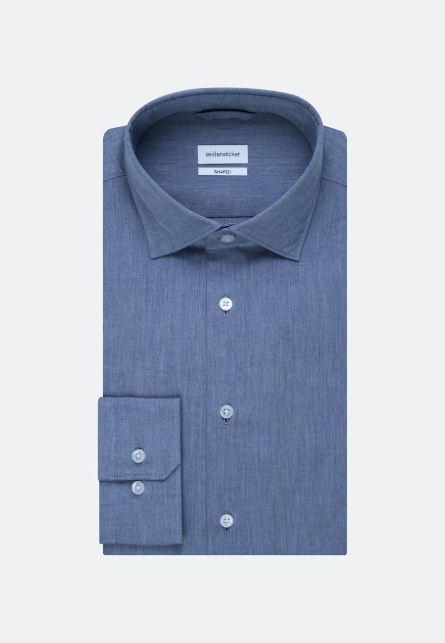 Bügelleichtes Chambray Business Hemd in Shaped mit Kentkragen in Mittelblau    Seidensticker Onlineshop