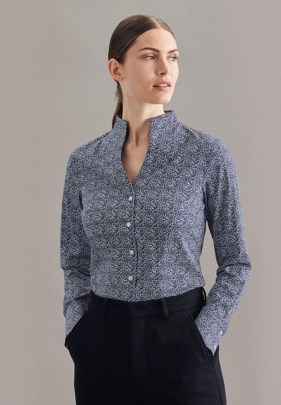 Popeline Kelchkragenbluse aus Baumwollmischung in Dunkelblau    Seidensticker Onlineshop