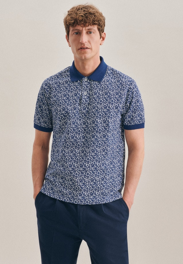 Polo-Shirt Floral in Mittelblau |  Seidensticker Onlineshop