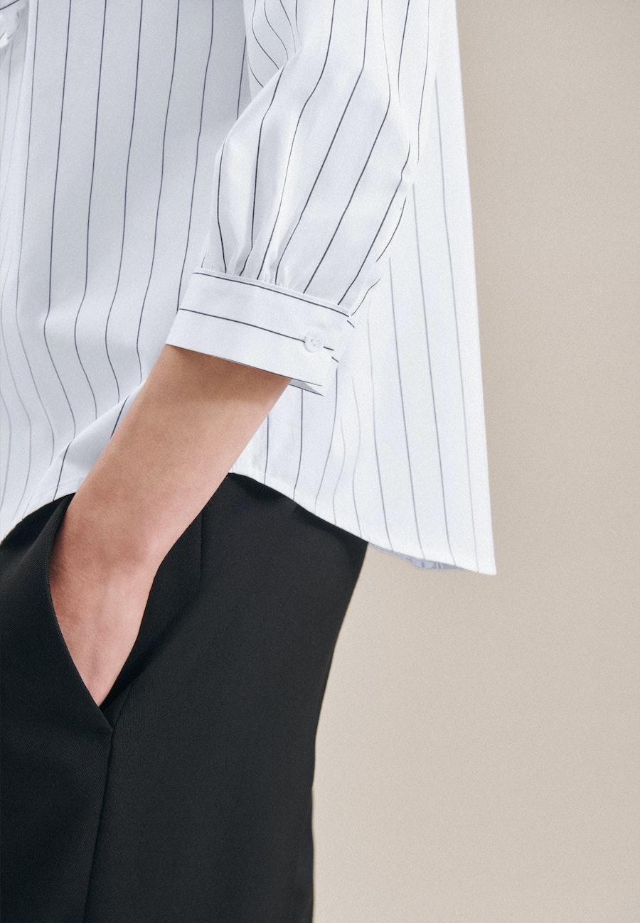 3/4-Arm Twill Stehkragenbluse aus 100% Baumwolle in Weiß |  Seidensticker Onlineshop