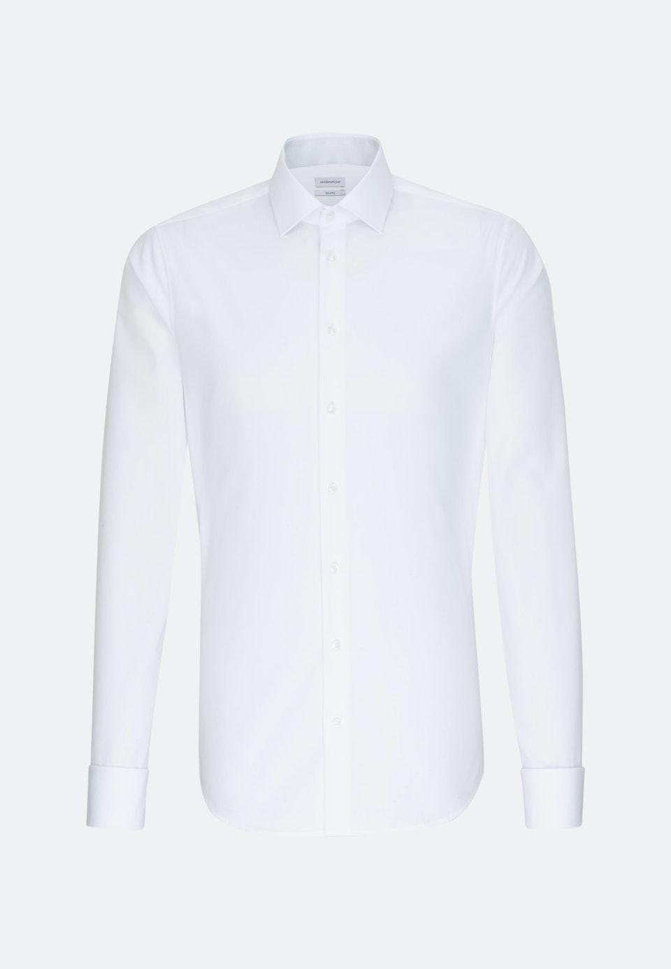 Bügelfreies Popeline Business Hemd in Shaped mit Kentkragen und extra langem Arm in Weiß    Seidensticker Onlineshop