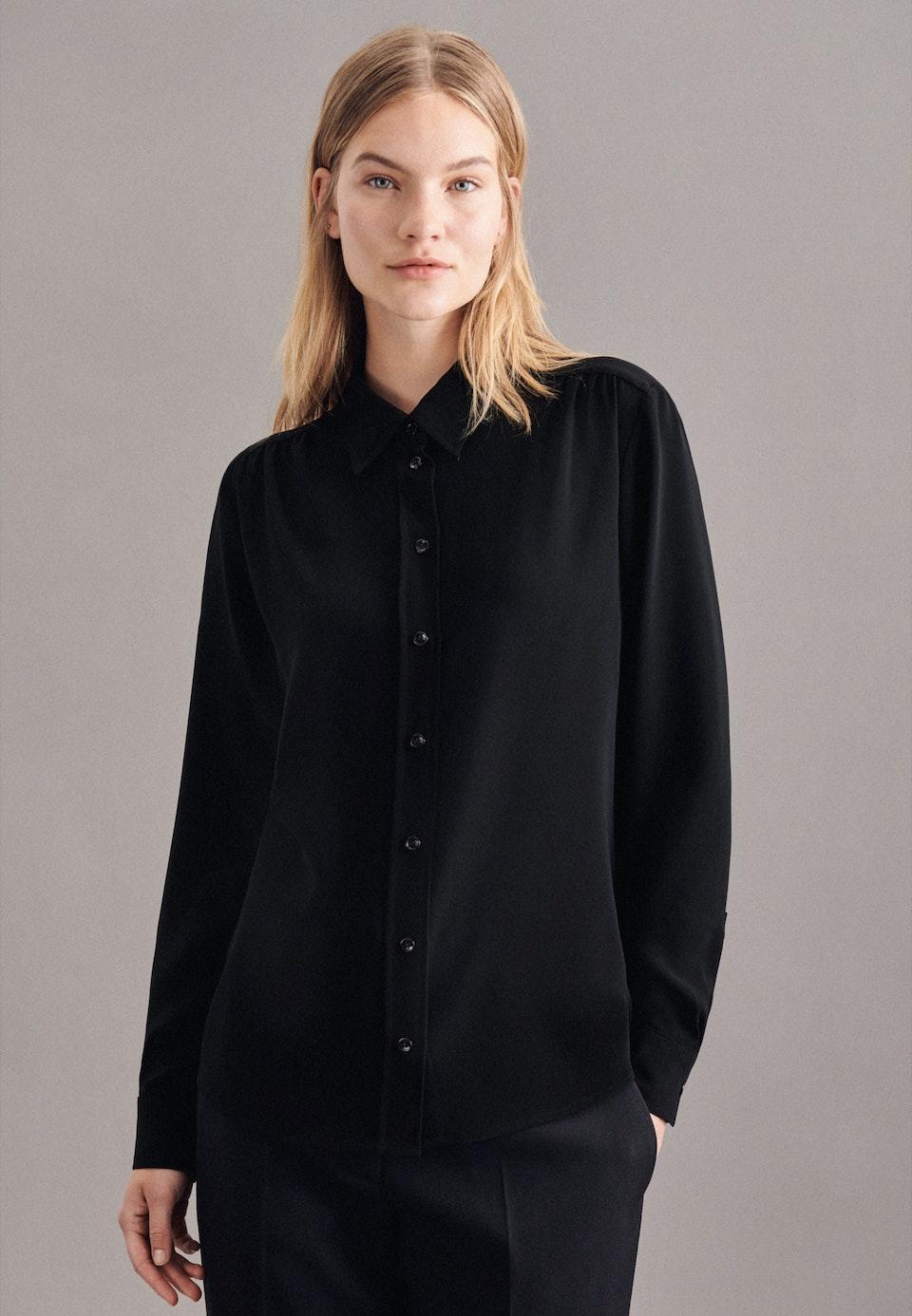 Krepp Hemdbluse aus 100% Polyester in Schwarz    Seidensticker Onlineshop