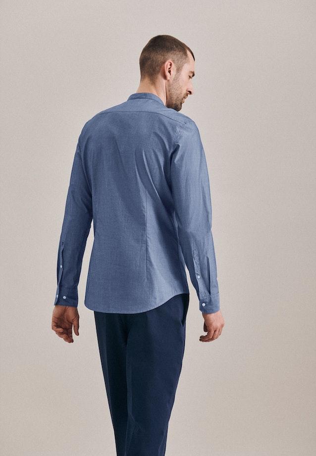 Bügelleichtes Chambray Business Hemd in Slim mit Stehkragen in Mittelblau |  Seidensticker Onlineshop