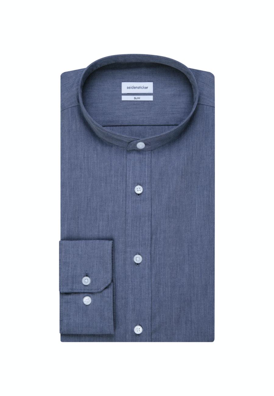 Bügelleichtes Chambray Business Hemd in Slim mit Stehkragen in Mittelblau    Seidensticker Onlineshop