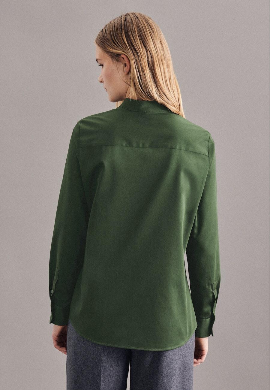 Satin Stehkragenbluse aus 100% Baumwolle in Grün    Seidensticker Onlineshop
