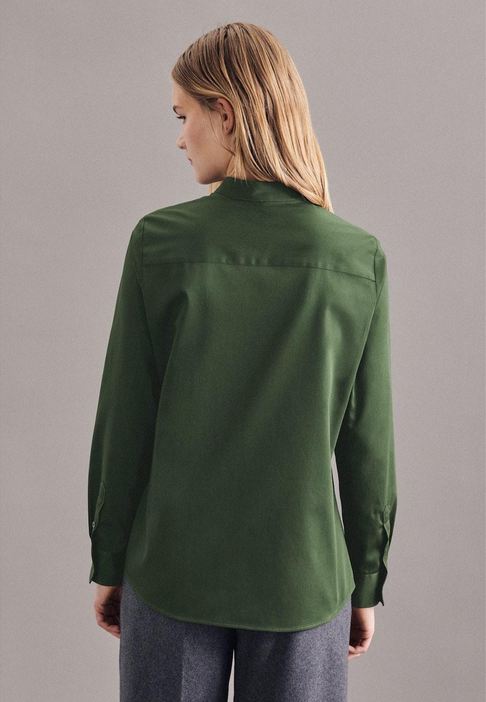 Satin Stehkragenbluse aus 100% Baumwolle in Grün |  Seidensticker Onlineshop