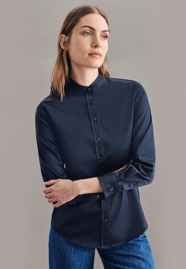 Satin Stand-Up Blouse made of 100% Cotton in Dark blue |  Seidensticker Onlineshop