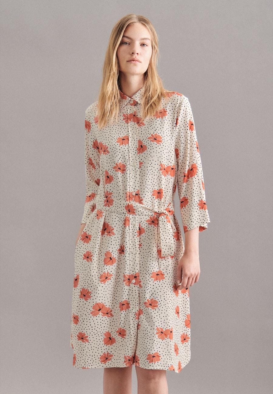 Krepp Midi Kleid aus Viskosemischung in Ecru    Seidensticker Onlineshop