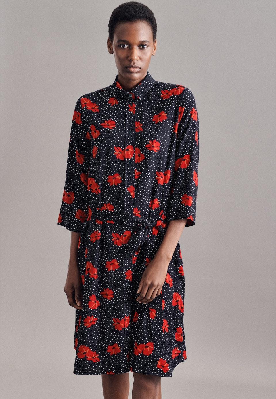 Krepp Midi Kleid aus Viskosemischung in Dunkelblau |  Seidensticker Onlineshop