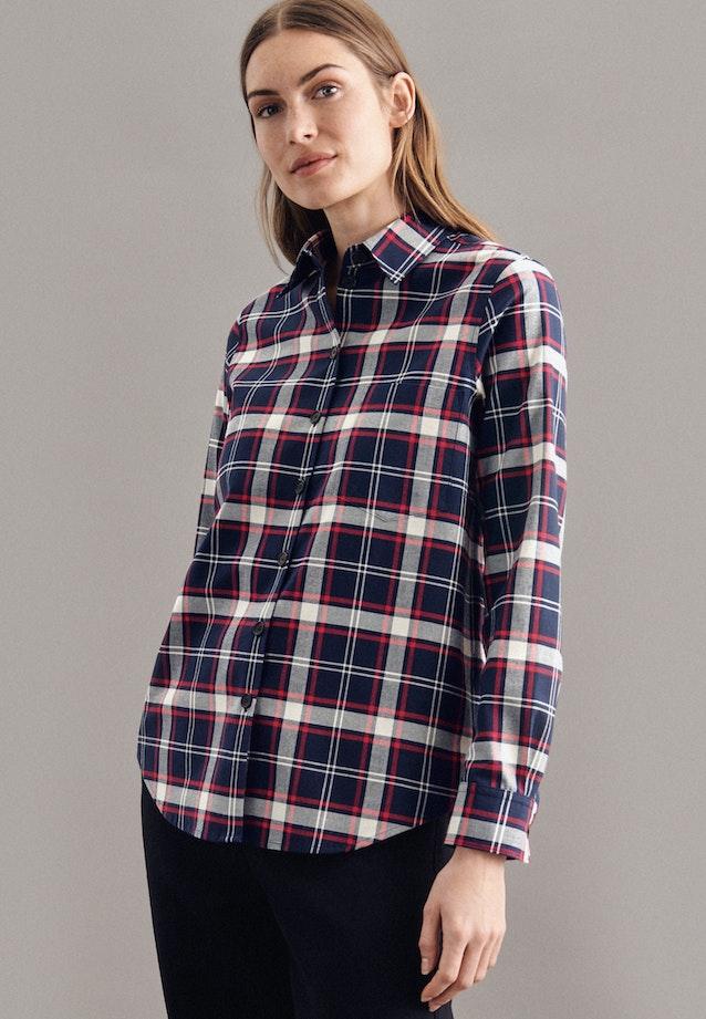 Flannel Shirt Blouse made of 100% Cotton in Dark blue |  Seidensticker Onlineshop