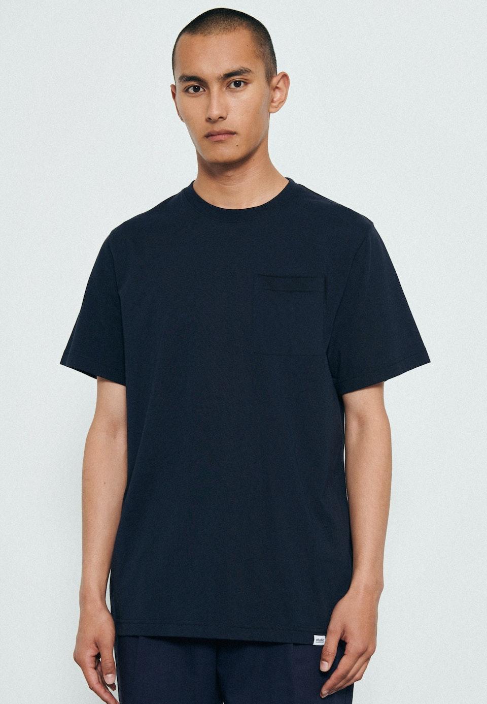 Rundhals T-Shirt aus 100% Baumwolle in Dunkelblau    Seidensticker Onlineshop