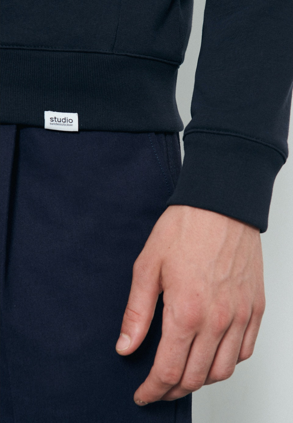 Kapuze Sweat-Jacke 100% Baumwolle in Dunkelblau    Seidensticker Onlineshop