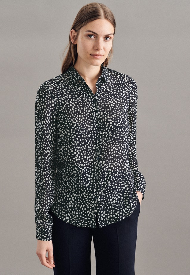 Chiffon Shirt Blouse made of 100% Viscose in Dark blue |  Seidensticker Onlineshop
