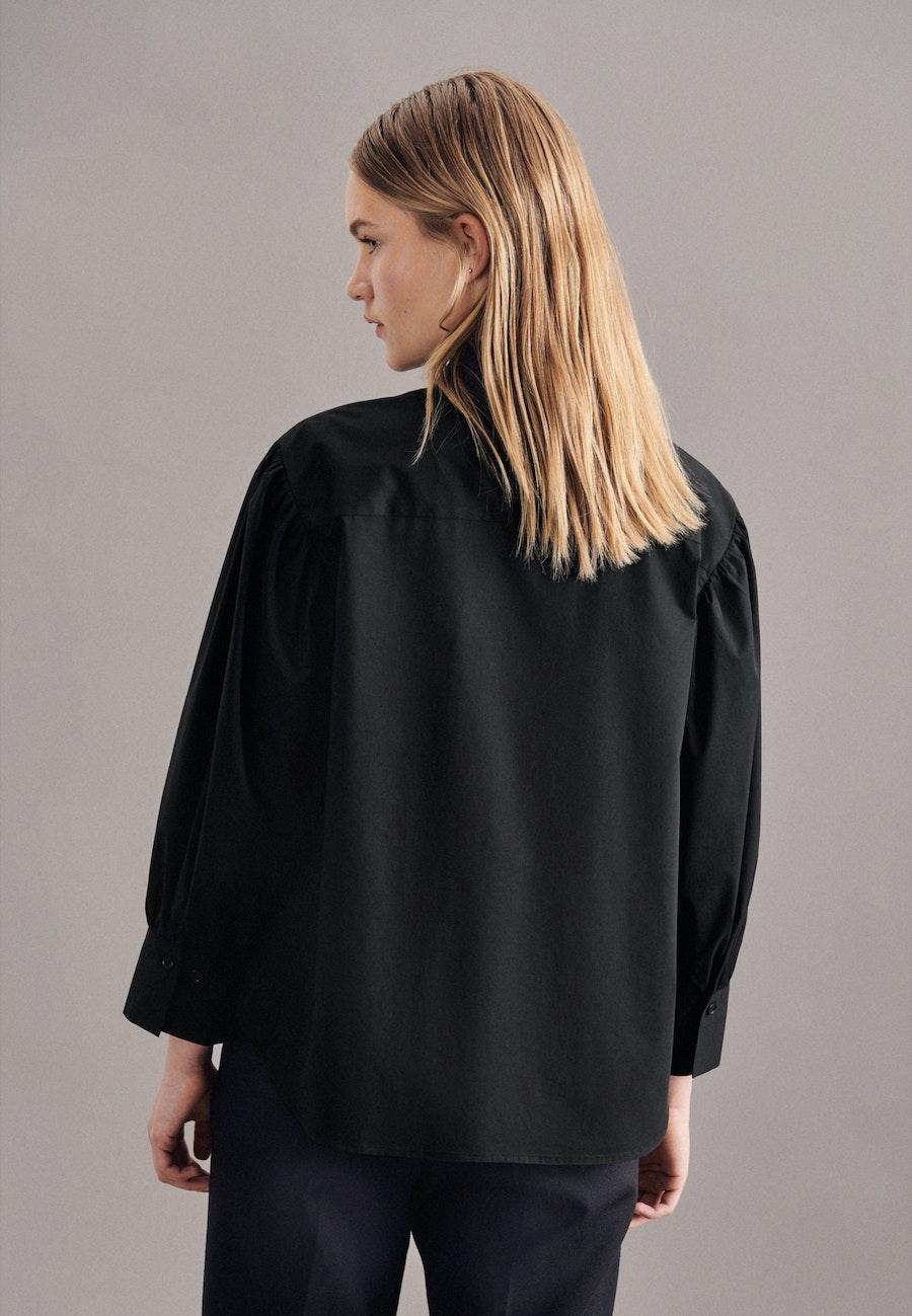 7/8-Arm Popeline Hemdbluse aus Baumwollmischung in Schwarz |  Seidensticker Onlineshop