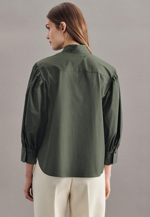 7/8-sleeve Poplin Shirt Blouse made of cotton blend in Green |  Seidensticker Onlineshop