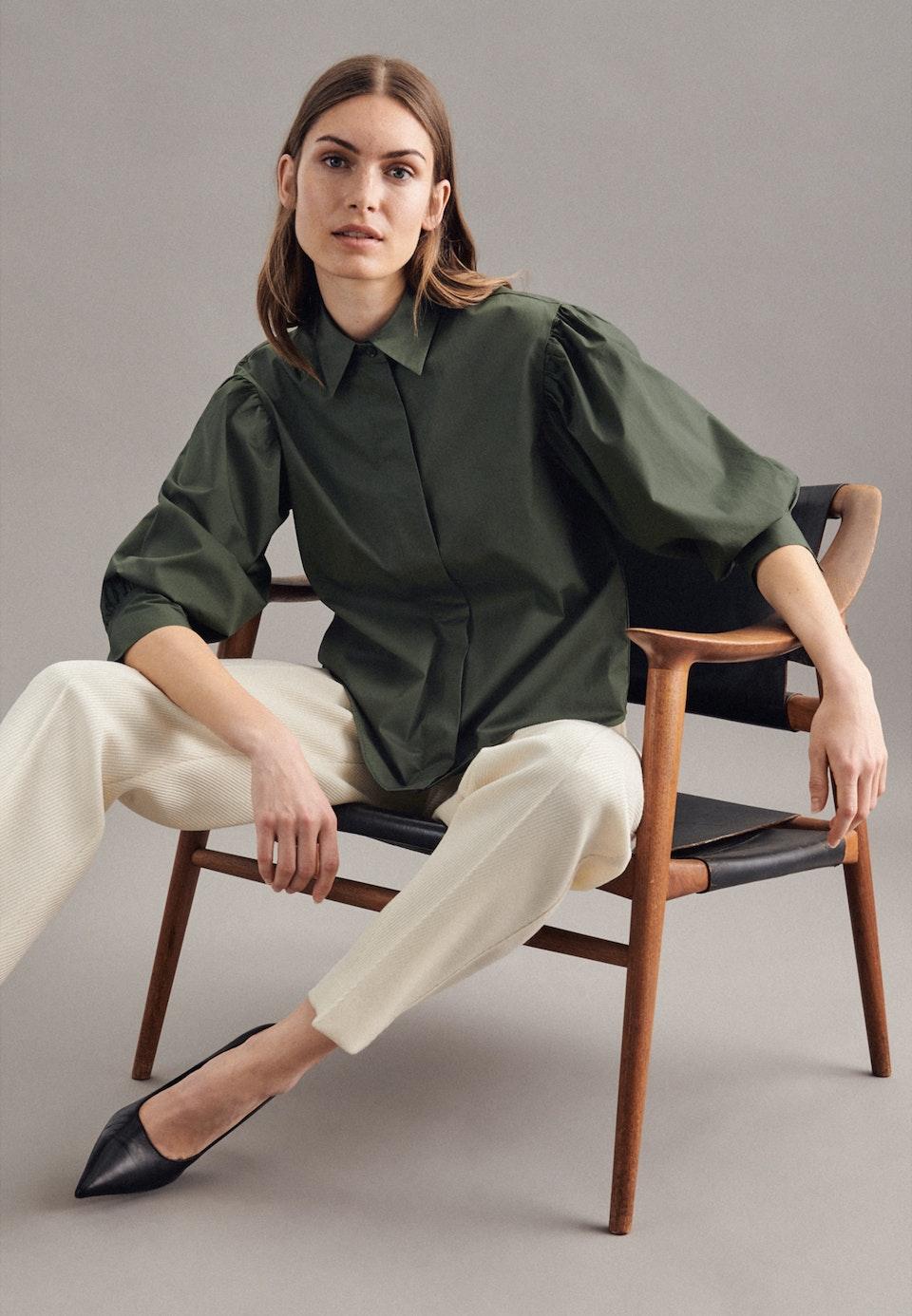 7/8-Arm Popeline Hemdbluse aus Baumwollmischung in Grün    Seidensticker Onlineshop