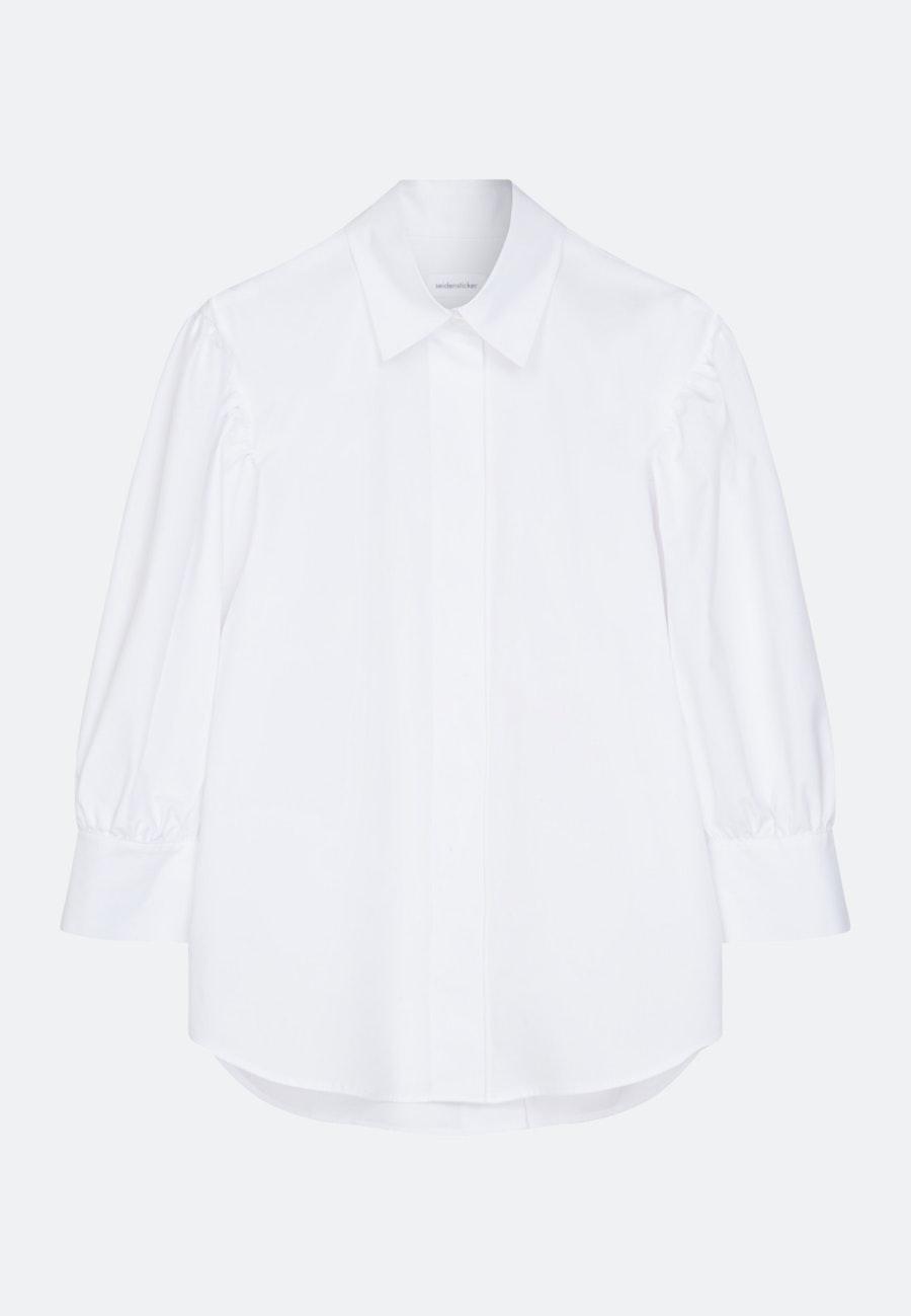 7/8-Arm Popeline Hemdbluse aus Baumwollmischung in Weiß |  Seidensticker Onlineshop