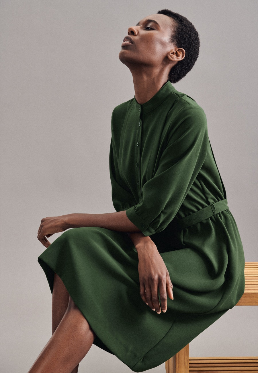 Krepp Midi Kleid aus 100% Polyester in Grün |  Seidensticker Onlineshop